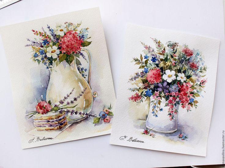 Купить Яркий букетик - ярко-красный, синий, зеленый, букет, цветочный, цветы, акварель