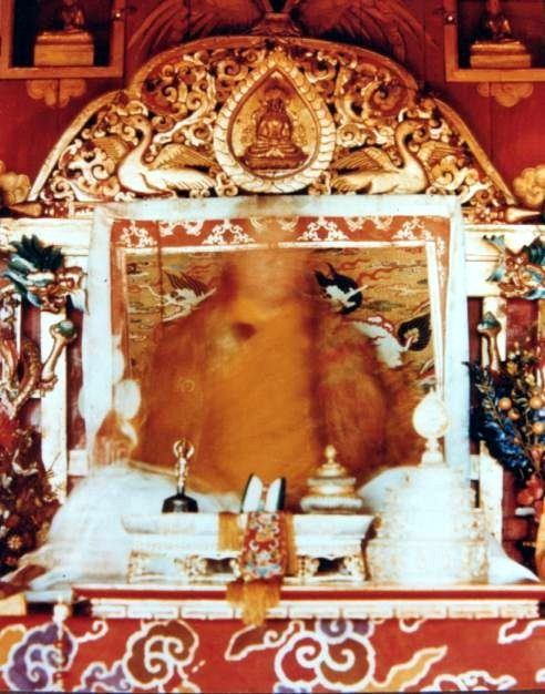 XVIth Karmapa in meditation (Famed picture, called The transparent Karmapa - the textura of the chair you can see exactly behind the energie-flow) #buddha