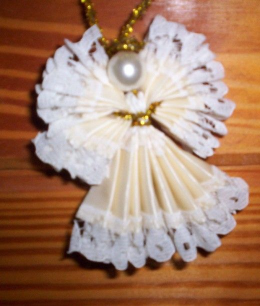 How to make christmas angels made out of lace ribbon for Craft angels to make