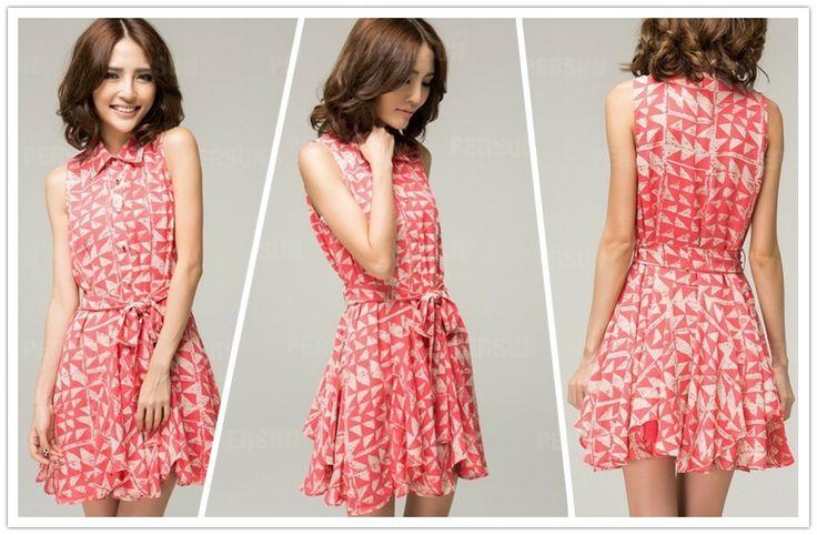 Pink Lapel Chiffon Dress with Waist Belt [FXBI00289]- US$ 46.79 - PersunMall.com