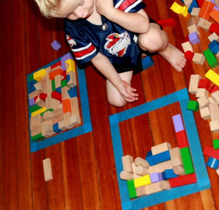 We filled the squares with blocks, and made a homemade puzzle!