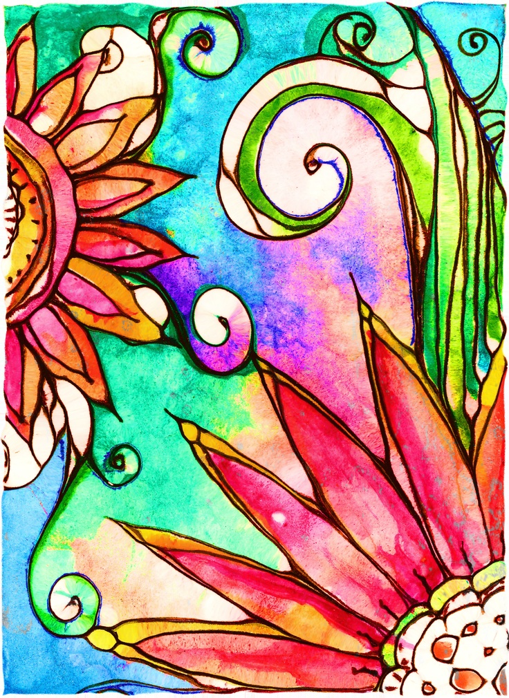 colorful: Line Drawings, Watercolor, Robins Mead, Doodle, Art Journals, Art Prints, Painting, Colors Flowers, Water Colors