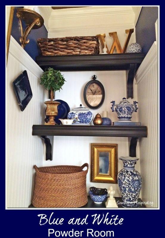 Add color and texture to a small powder room.  Powder Room Pizazz! | eBay #blueandwhite #powderroom