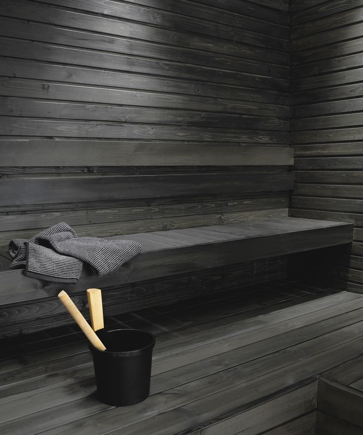 Untreated sauna benches and panel walls can be blackened using the Supi Sauna Wax by Tikkurila. This water-soluble solution with natural wax is colourless but it can be tinted black. <-- Great tip!