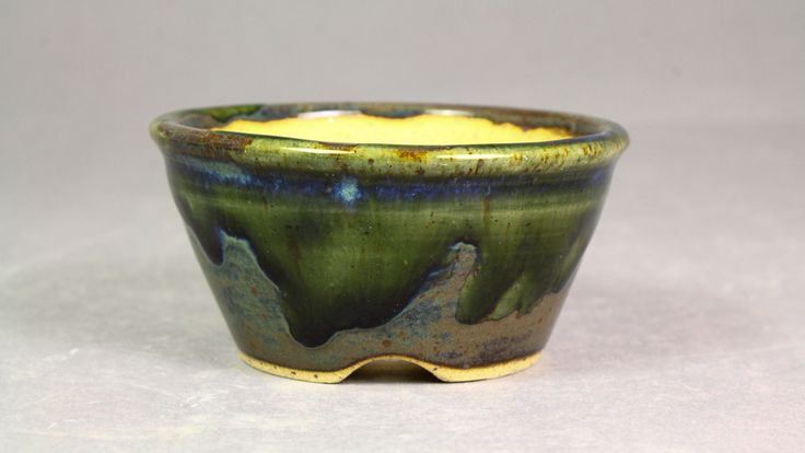 "Forest Green over Night Ocean 3.3"" Round Mame Bonsai Pot by Ashley Keller"