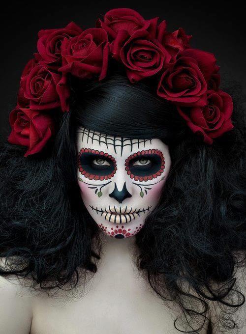 Day of the dead. Dia de Los Muertos. Sugar skull makeup.