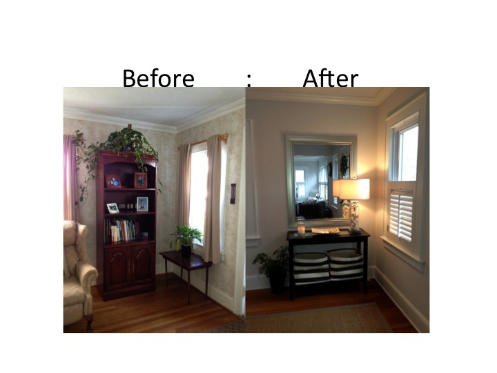 Removed Curtains And Installed Plantation Shutters From Home Depot Console Table Bed Bath Beyond Mirror Goods