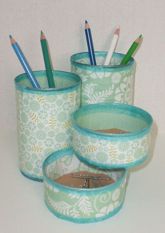 Desk Organizer / Pencil Holder made from upcycled by GroovyCool, $22.00