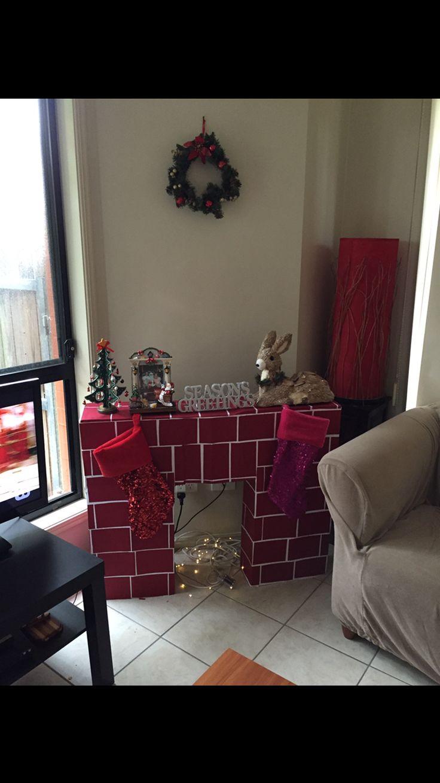 Christmas decoration cardboard fireplace