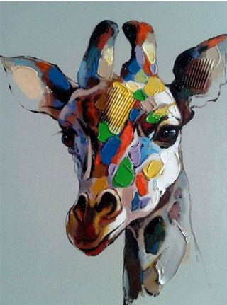 SAVE THE GIRAFFE'S - HANDMADE OIL PAINTING ON CANVAS - WALL ART