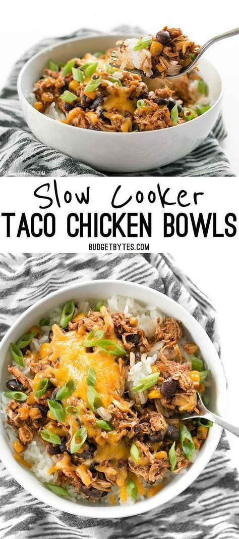 """Slow Cooker Taco Chicken Bowls are the ultimate """"set it and forget it"""" easy weeknight meal that the whole family will love."""
