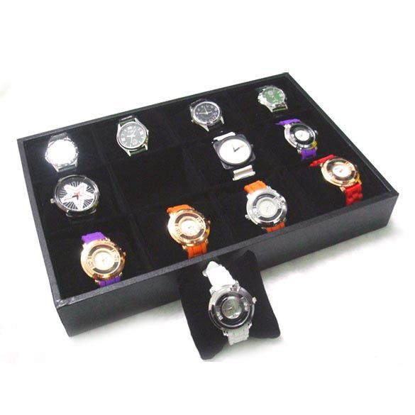 Hot Sale 12 Grid Jewelry Case Velvet Box Watch Display Storage Organizer Leather Boxes for Bracelets