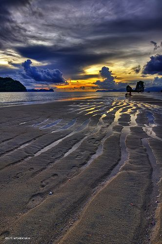 """low tide sand formation""  Location: Langkawi, Malaysia"