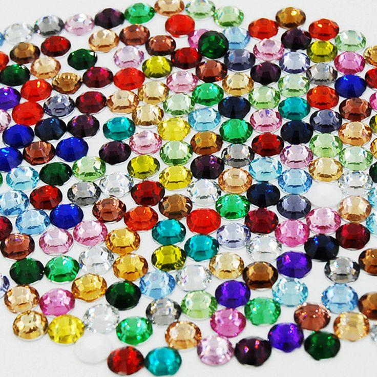 Moda 1000 Unids/bolsa Color Mezclado de Acrílico Brillo Del Arte Del Clavo Herramientas Del Clavo Del Rhinestone DIY Decoración Multicolor Rhinestone Redondo
