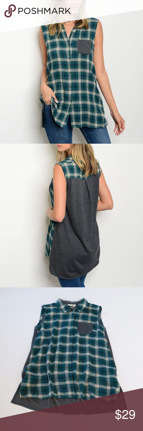 Plaid Flannel Tunic Top Button Front Grunge 90's Sleeveless Plaid Flannel Tartan Tunic Top Button Front Grunge 90's Green Gray   Features:  100% cotton: self contrast: poly/rayon 65/35 button front lightweight frayed edging hi low hem chest pocket hand wash or dry clean  Measurements, laying flat in inches:  Bust:  17 (S), 18 (M), 19.5 (L)  Length: 27, 28, 29; 2-3 inches longer in back Tops