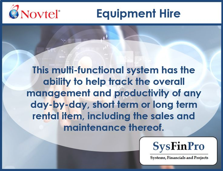 """""""With #Novtel Equipment Hire software you have the ability to help track the overall management and productivity of any day-by-day, short term or long term rental item.  """""""