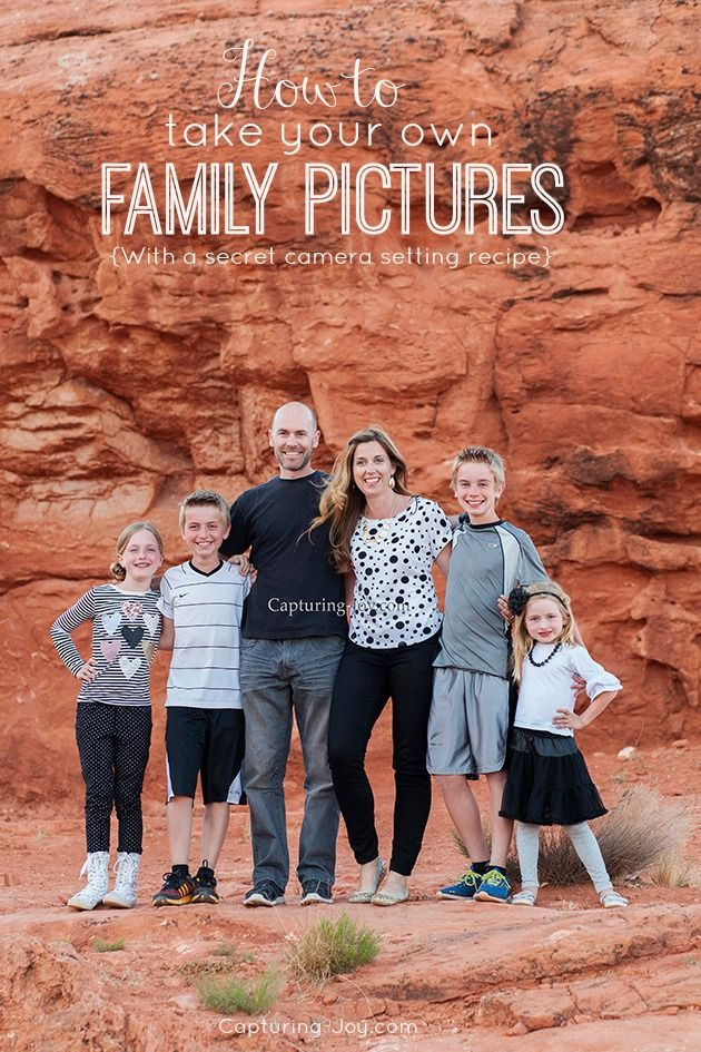How to Take your Own Family Pictures, with a secret camera setting recipe that will help you Say NO to Auto and shoot in Manual settings. Capturing-Joy.com