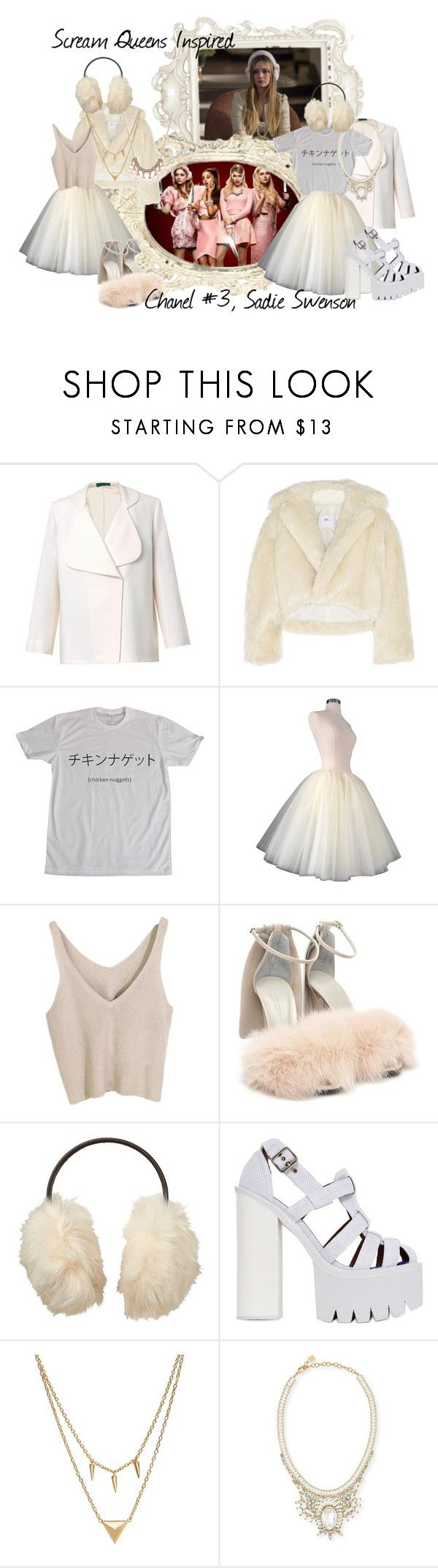 Scream Queens Inspired {Chanel #3, Sadie Swenson} by helpless-angel on Polyvore featuring moda, Toga, Emilia Wickstead, Alexander Wang, Jeffrey Campbell, DANNIJO, Edge of Ember, Uniqlo, ScreamQueens and Chanel3