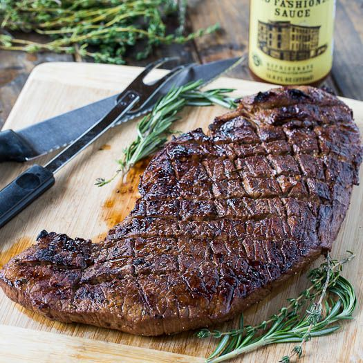 Super flavorful and moist Grilled Marinated London Broil  I added a little Woostie and Longhorn grill seasoning.