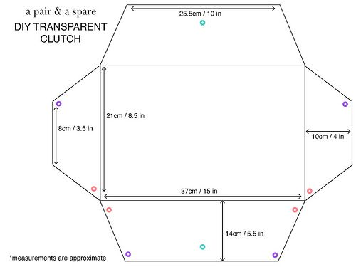 diy transparent clutch template by apairandaspare, via Flickr