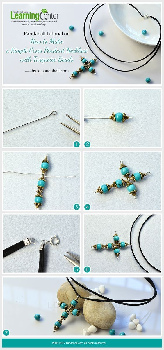 Pandahall Tutorial on How to Make a Simple Cross Pendant Necklace with Turquoise Beads from LC.Pandahall.com   Jewelry Making Tutorials & Tips 2   Pinterest by Jersica