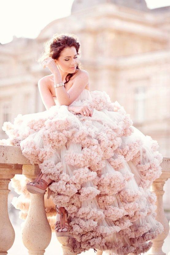 gorgeous blush wedding gown