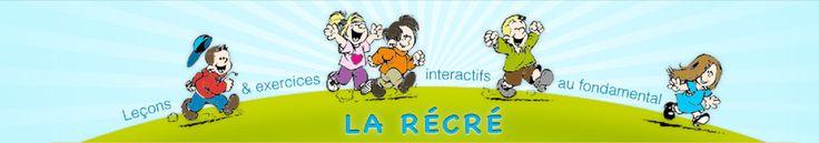 Bienvenue sur le site de la récré.  Ce site est principalement réservé aux élèves de l'enseignement fondamental en Belgique ou de l'enseignement primaire dans d'autres pays francophones. Les leçons et les exercices ont été créés généralement en fonction du socle des compétences mis en vigueur dans l'enseignement en Belgique mais peut convenir pour d'autres pays. Le site pourra aussi servir aux personnes en apprentissage de la langue française.