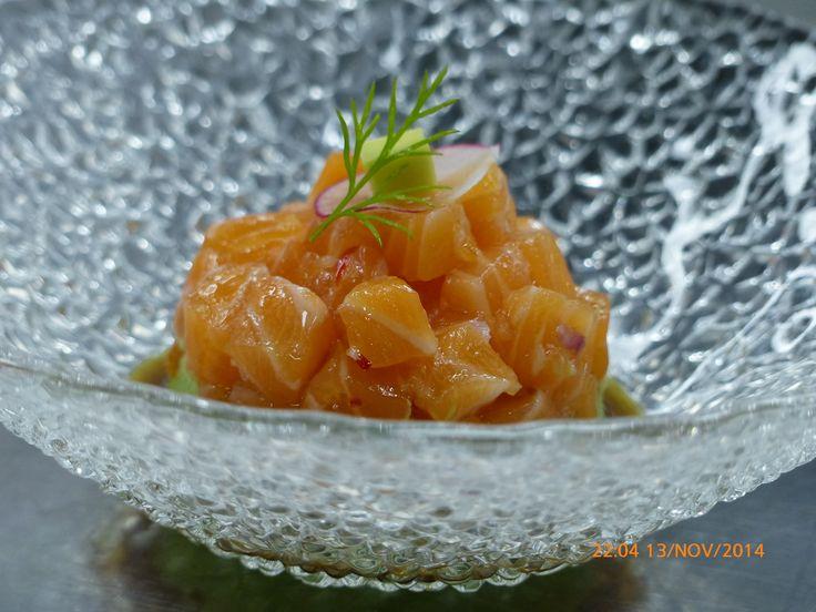 Columbus Madrid nov 2014. Chef Mario Sandoval Michelin Star. Salmon tartar with ginger and lima aroma.