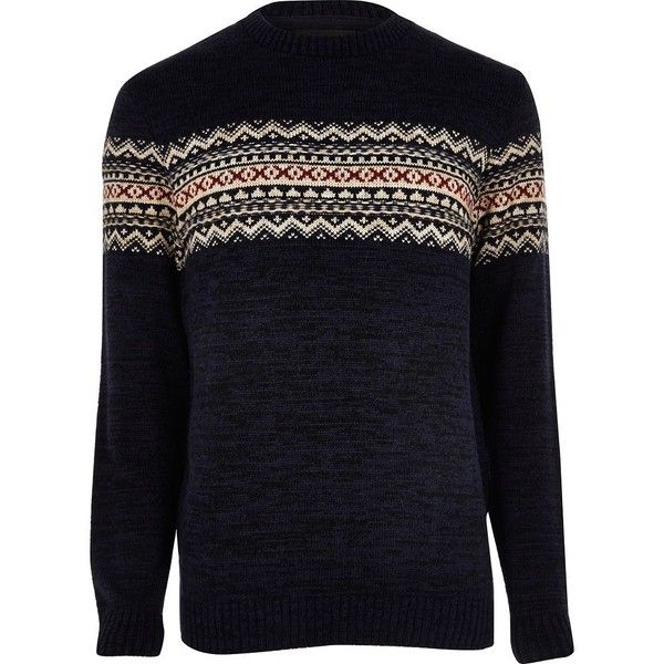 River Island Navy fairisle knit Christmas jumper ($15) ❤ liked on Polyvore featuring men's fashion, men's clothing, men's sweaters, jumpers, navy, mens crew neck sweaters, old navy mens sweaters, mens crewneck sweaters, mens tall sweaters and mens fair isle sweater