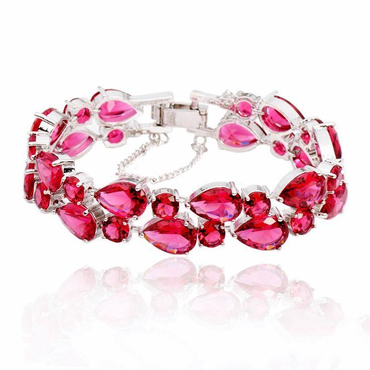 Multilayer Pink CZ Platinum Plated Bracelet