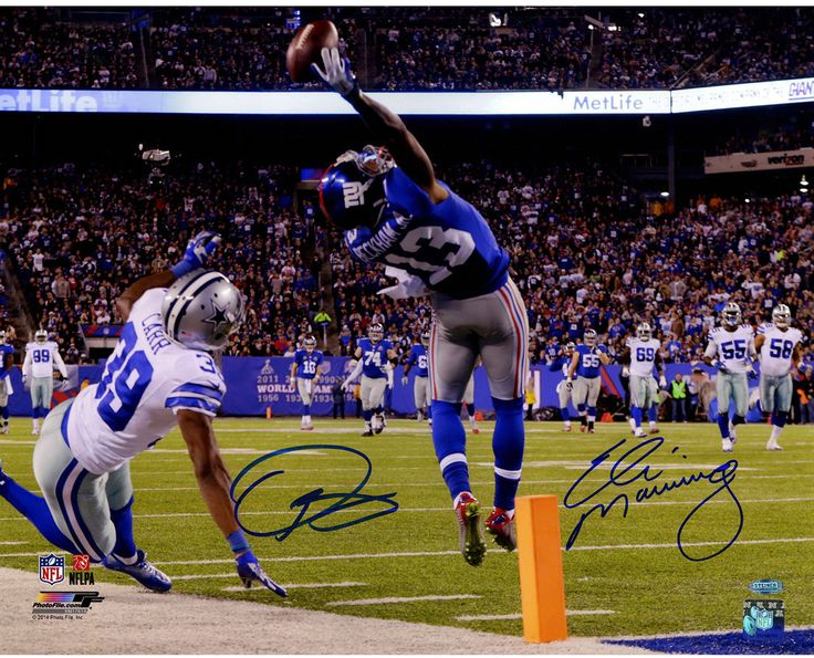Odell Beckham Jr & Eli Manning Dual Signed One-Handed Touchdown Catch 16x20 Photo