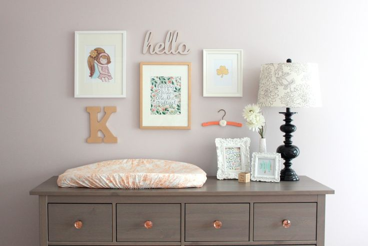 This gallery wall looks great over the @IKEA USA Hemnes Dresser!: Nurseries, Changing Pads, Galleries Wall, Gallery Walls, Strawberries Swings, Dressers, Baby, Changing Tables, Little Rooms