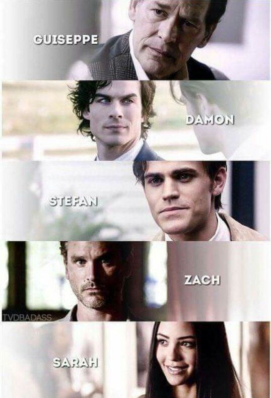 """#TVD The Vampire Diaries Guiseppe,Damon,Stefan,Zach & Sarah """"Guiseppe,Damon,Stefan,Zach, Sarah"""""""