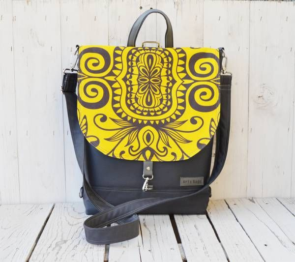 Handmade Canvas Flap Backpack - Yellow Design