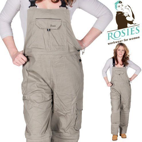 Rosies  Womens Cotton Denim Bib  Beige Brown Ladies Work Overalls * Learn more by visiting the image link.(This is an Amazon affiliate link)