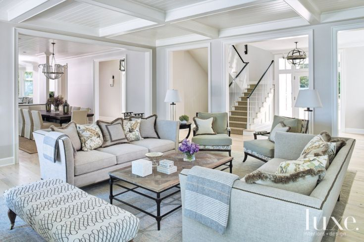 The Chic Technique:  Contemporary White Living Room with Tray Ceiling