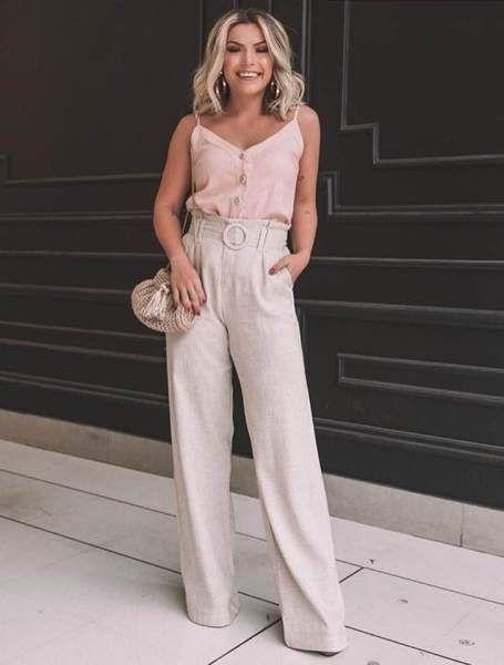 b79e6b086 Calça Pantalona Linho com cinto Milalai em 2019 | My Style | Fashion ...