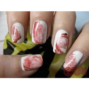 Caught red-nailed. Need to find a HowTo on this....Nails Art, Print Nails, Nails Design, Bloody Fingerprints, Fingers Prints, Crime Scene, Nails Ideas, Fingerprints Nails, Halloween Nails