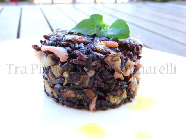 Insalata di riso venere, calamaro e melanzane, al profumo di menta romana