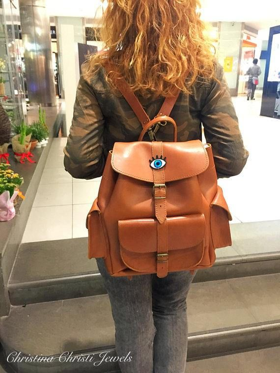 Leather Backpack, Leather Rucksack, Brown Leather Backpack, Schoolbag, Made in Greece from Full Grain Leather, LARGE.