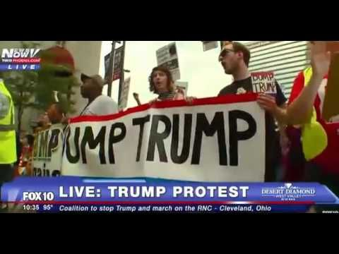 Trump Protesters CHANT Day 1 RNC 'Donald Trump, you're an ass, here comes the working class'