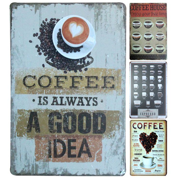 """Coffee Is Always A Good Idea Tin Sign 8""""x12"""" Metal Sign Bar/Pub/Cafe Wall Decor Metal Plaque Vintage Home Decor Metal Painting 