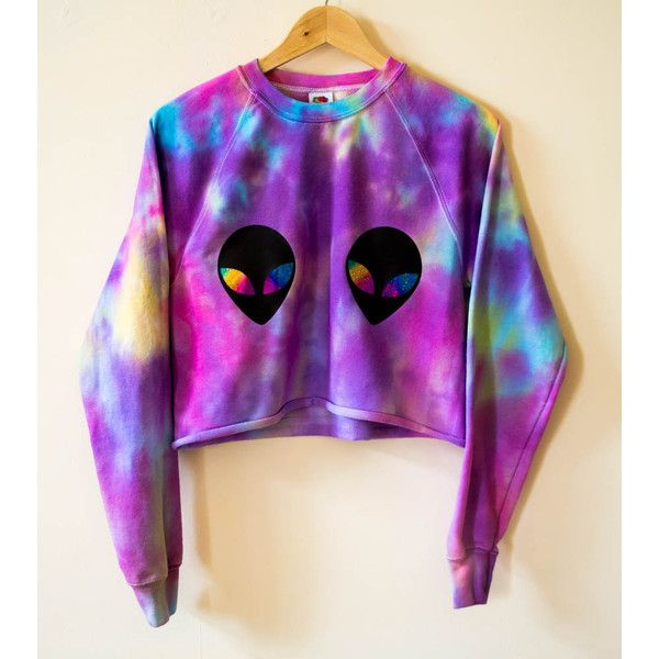 Alien Galaxy Tie Dye Crop Jumper Sweater Grunge 90'S Hipster Festival... ($37) ❤ liked on Polyvore featuring tops, sweaters, black, women's clothing, pink black sweater, black crop top, black sweater, purple jumper and hipster sweater