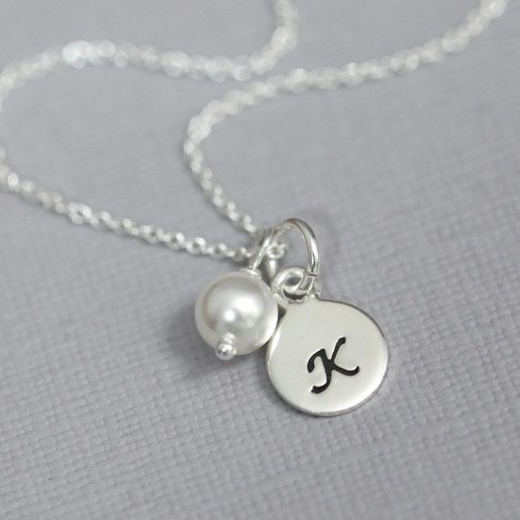 Sterling Silver Initial Necklace, Initial Charm Necklace with Swarovski Pearl or Birthstone Charm, Gift for Her, Flower Girl Necklace