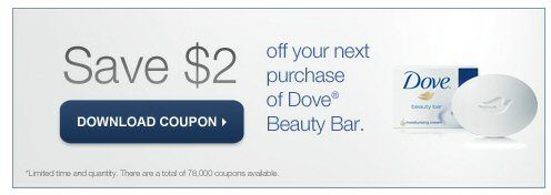 $2 off Dove Body Wash, $2 off Dove Bar Soap (Printable Coupons)