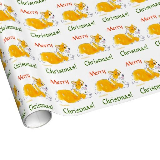 Merry Christmas Corgi! Wrapping Paper - cute flying Pembroke Welsh Corgi in watercolor, to customize at Zazzle