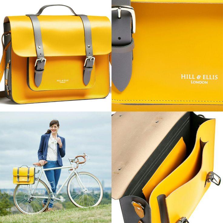 De #hillandellis #fietstas #bradley in geel leer met zwart lederen riemen.