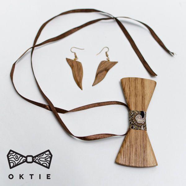 OKTIE Woman hand made wood bow tie earrings pendant Brown #OKTIE