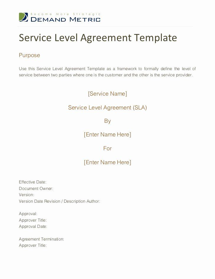 It Service Contract Template Awesome Service Level Agreement Template Service Level Agreement Contract Template Templates