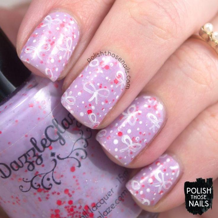 Bowed Up // Polish Those Nails // The Digit-al Dozen - Indie Love // dazzle glaze - tonic nail polish - glitter - indie polish - bows -pattern